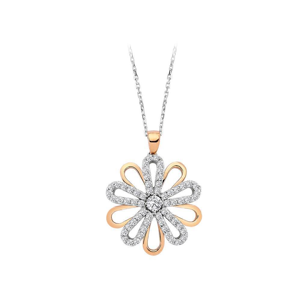 Yellow and Rose Gold Daisy Design Diamond Necklace