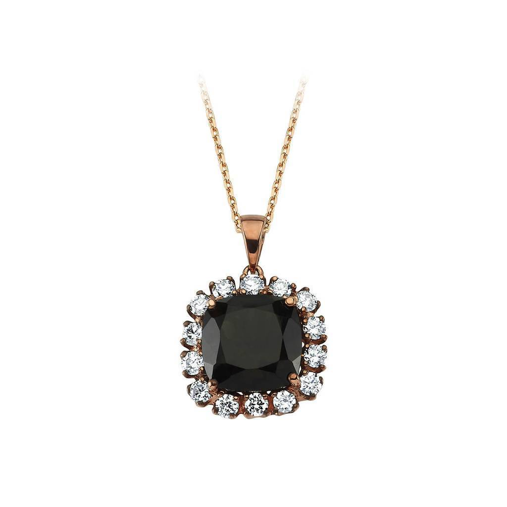 Diamond and Cushion Cut Smoky Quartz Necklace