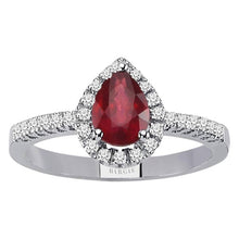 Load image into Gallery viewer, Diamond and Drop Cut Ruby Ring