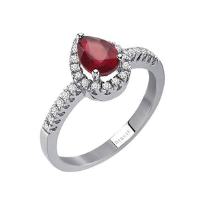 Diamond and Drop Cut Ruby Ring