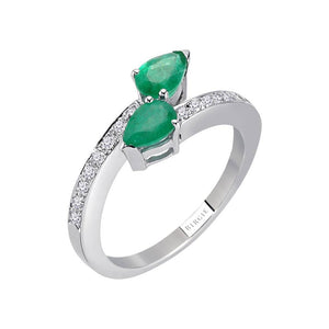 Diamond and Drop Cut Emerald You&Me Ring