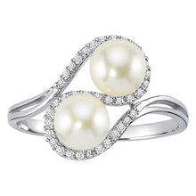 Load image into Gallery viewer, Diamond and Twin Pearl Ring