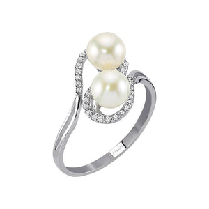 Diamond and Twin Pearl Ring