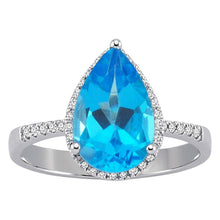 Load image into Gallery viewer, Diamond and Drop Cut Blue Topaz Ring