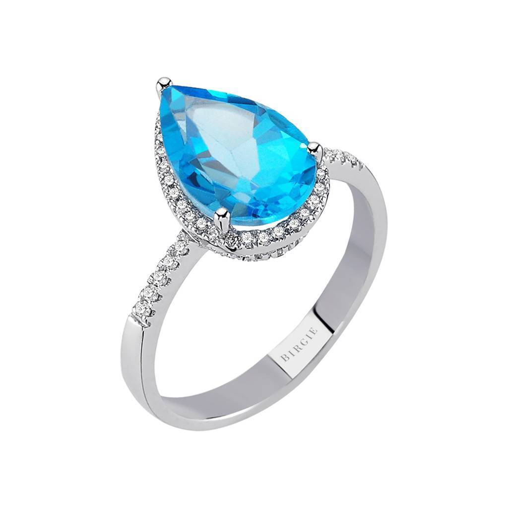 Diamond and Drop Cut Blue Topaz Ring