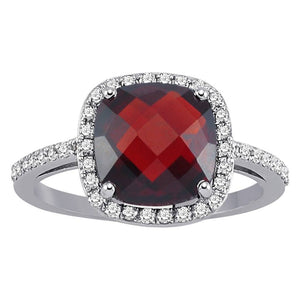 Diamond and Cushion Cut Garnet Ring