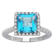 Load image into Gallery viewer, Diamond and Princess Cut Blue Topaz Ring