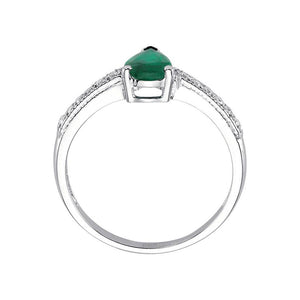 Diamond and Drop Emerald Cut Ring