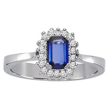 Load image into Gallery viewer, Diamond and Octagon Cut Sapphire Ring