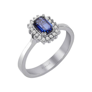 Diamond and Octagon Cut Sapphire Ring