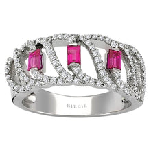 Load image into Gallery viewer, Diamond and Baguette Cut Ruby Ring