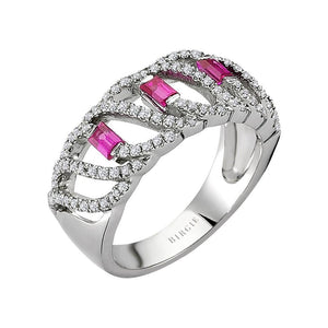 Diamond and Baguette Cut Ruby Ring