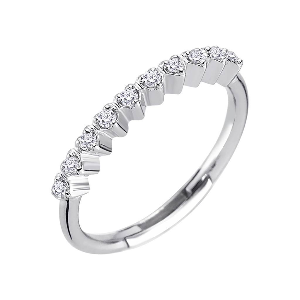 Diamond 10 Stone Ring with Heart Pronges
