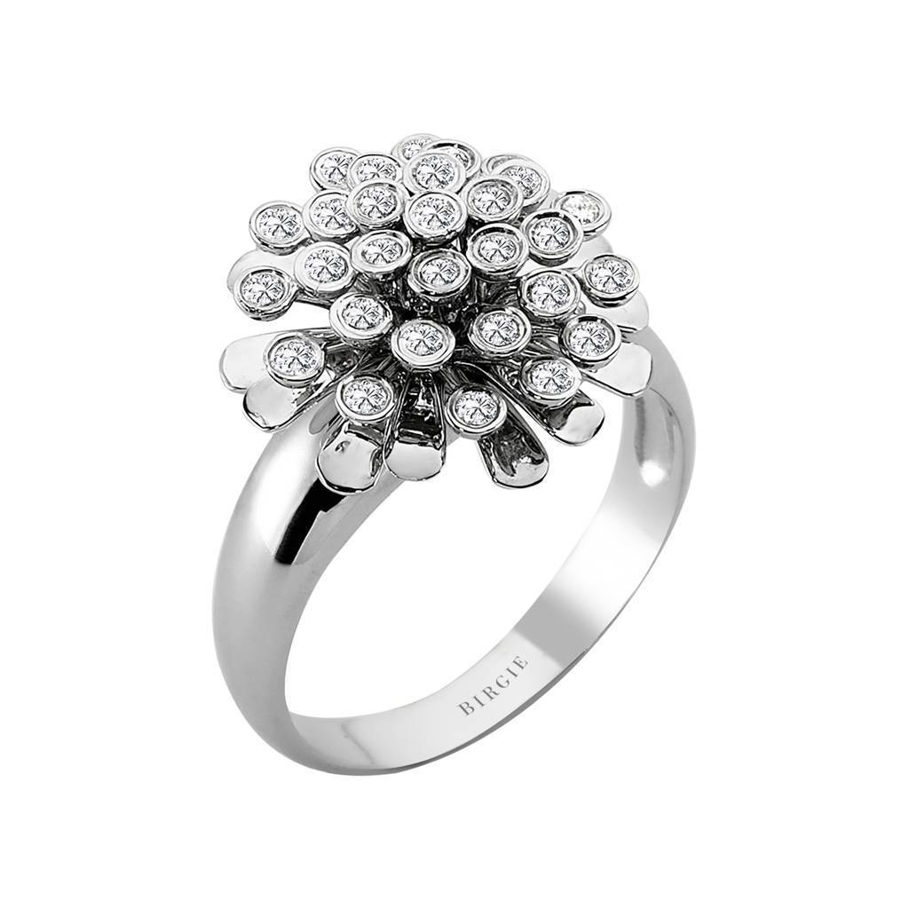 Diamond Flower Design Engagement Ring