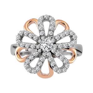 Diamond Daisy Design Rose and Yellow Colour Gold Ring