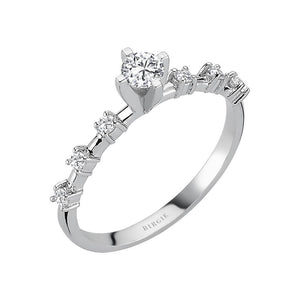 Total 0.33 Carat Diamond Halo Engagement Ring