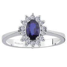 Load image into Gallery viewer, Diamond and Oval Cut Sapphire Entourage Ring