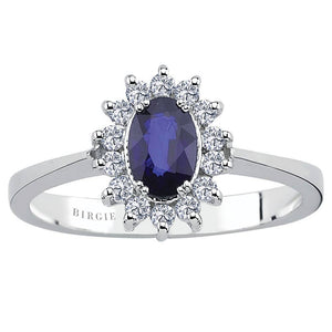 Diamond and Oval Cut Sapphire Entourage Ring