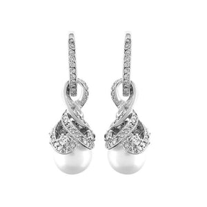 Diamond Stone Drop Pearl Earrings