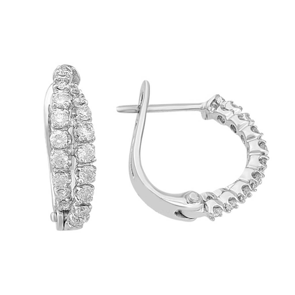 Diamond Stone Hoop Earrings