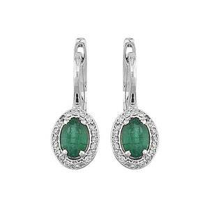Oval Emerald and Diamond Stone Earrings