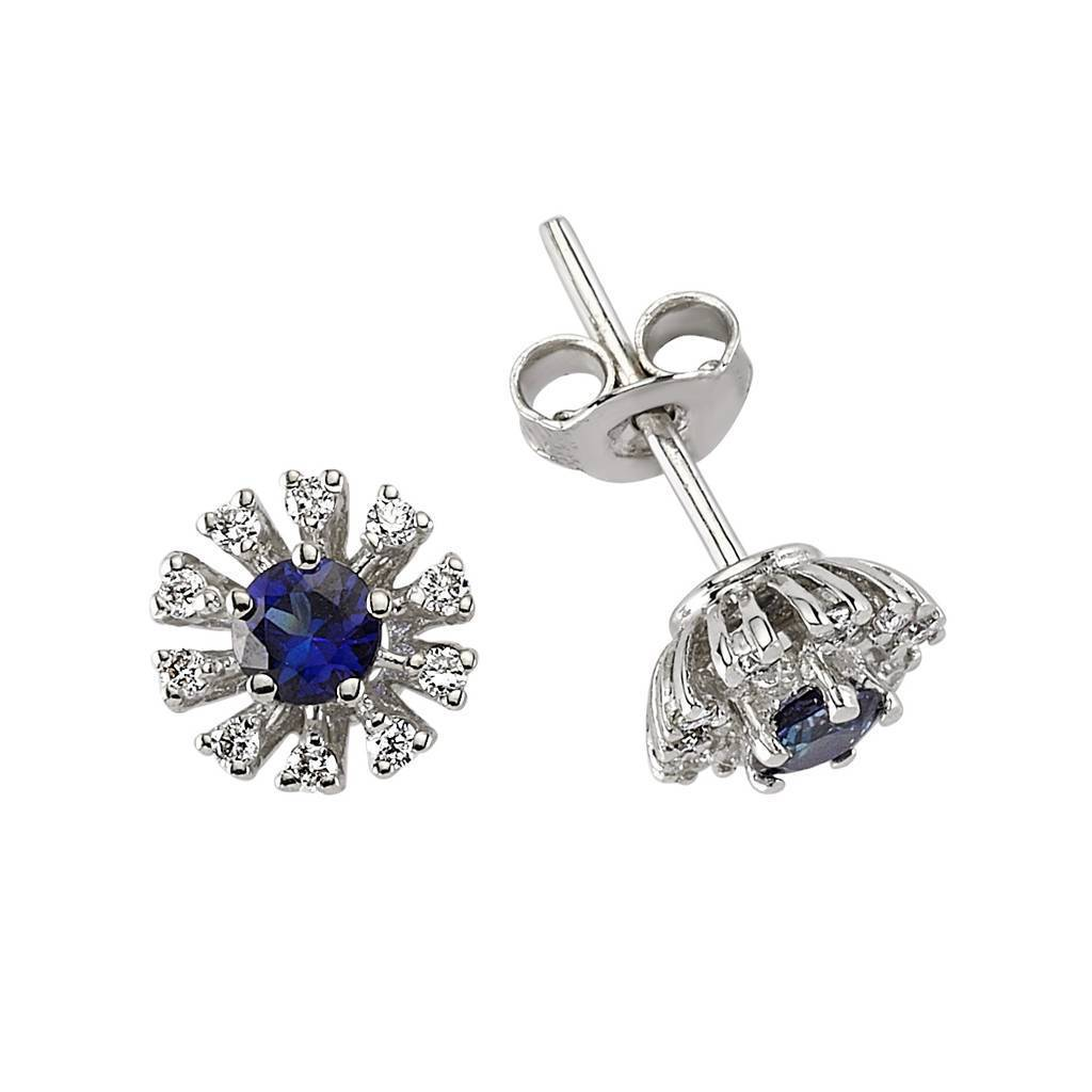 Sapphire and Diamond Stone Earrings