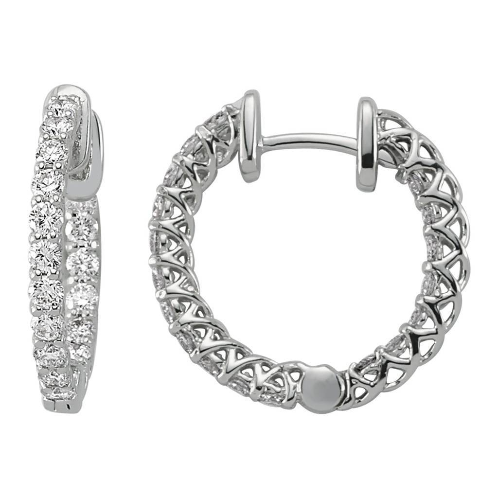Inside and Out Diamond Stone Hoop Earrings