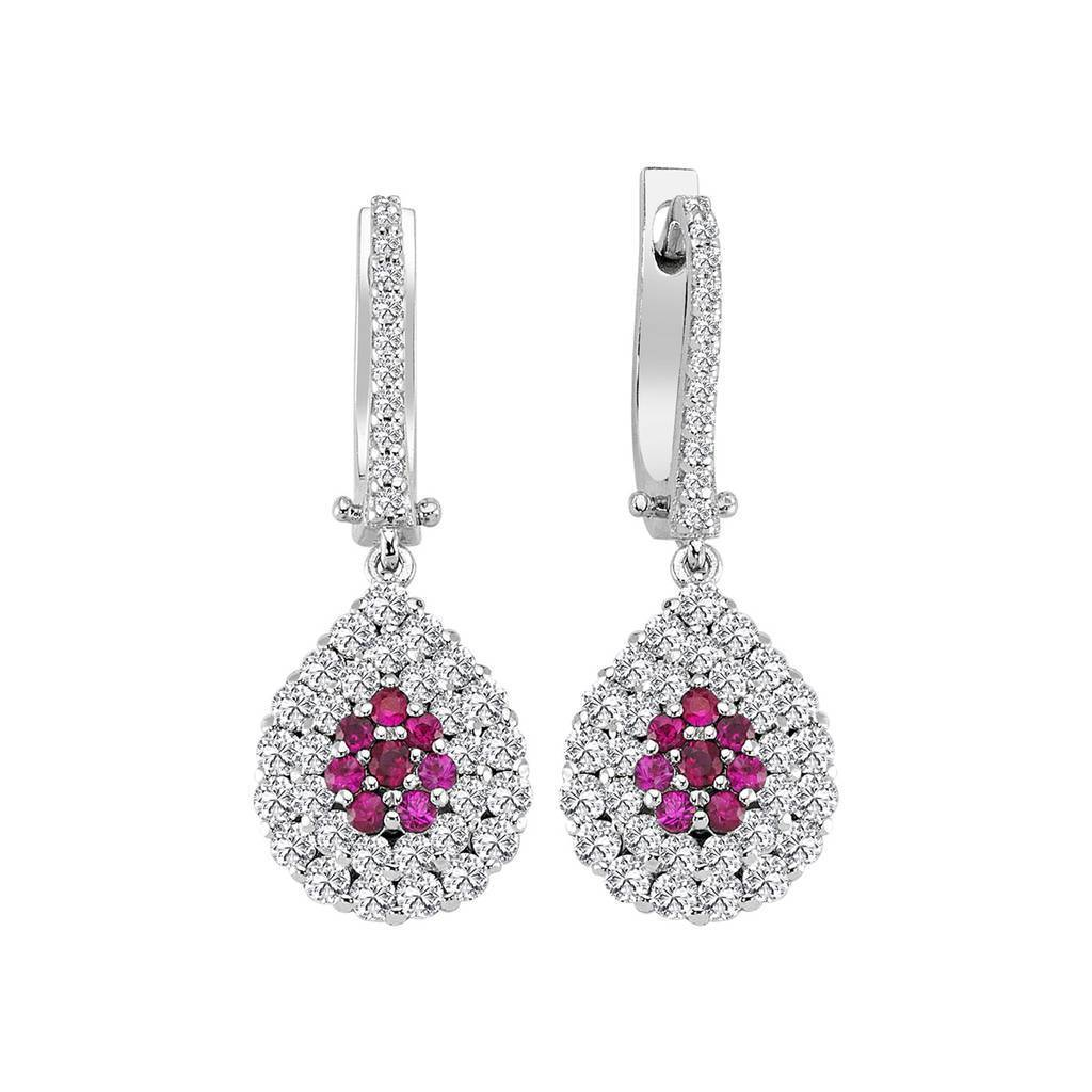 Twin Line Diamond and Ruby Entourage Earrings