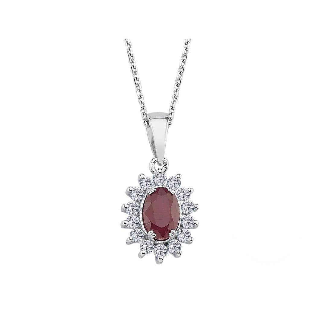Diamond and Oval Ruby Necklace