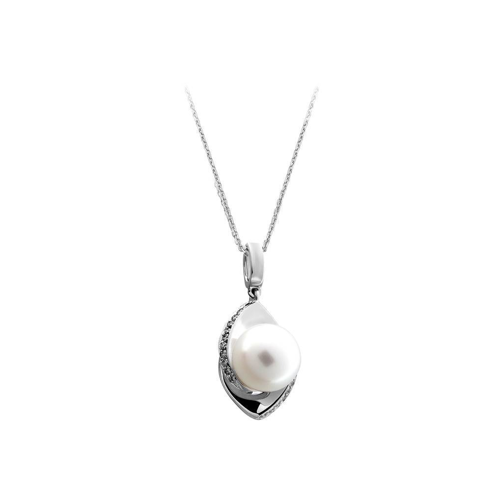 Diamond Stone Drop Pearl Necklace