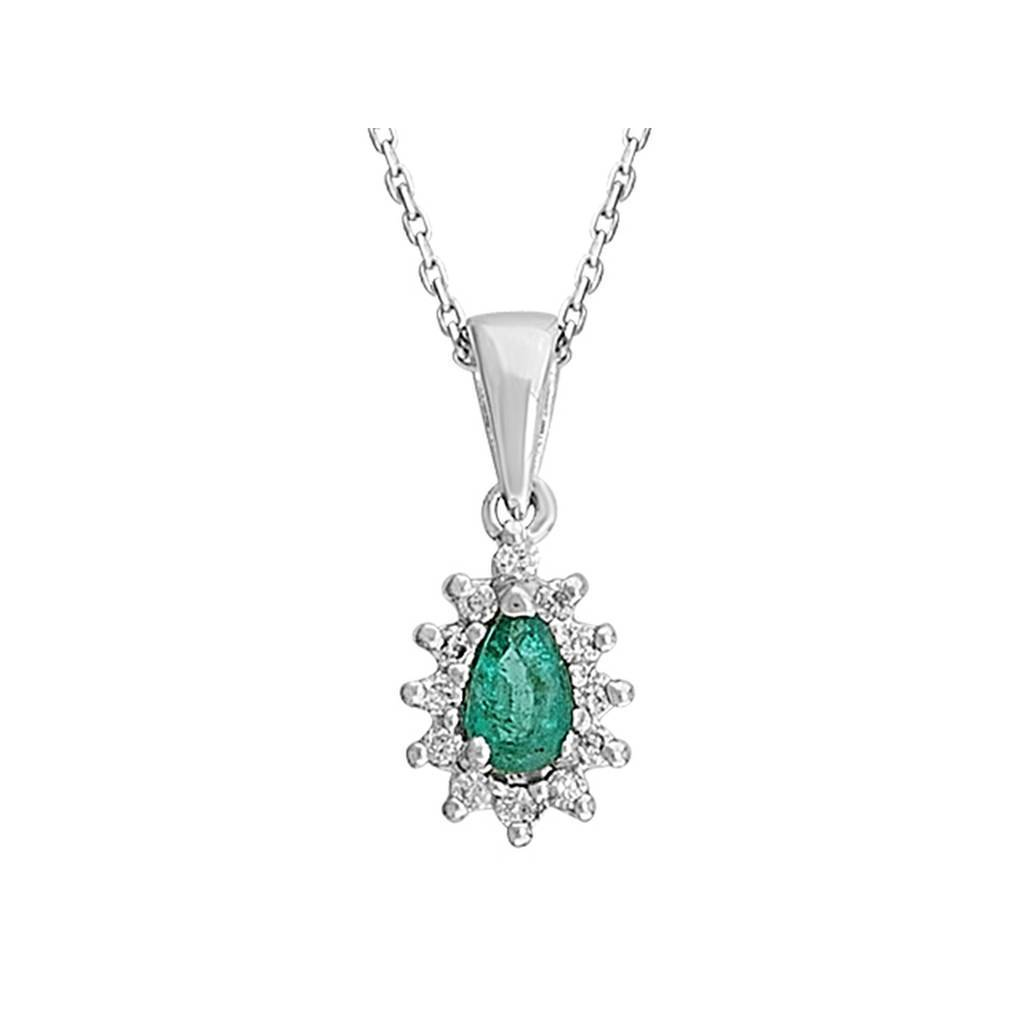 Drop Shape Emerald and Diamond Cluster Pendant with Chain in 18K Gold