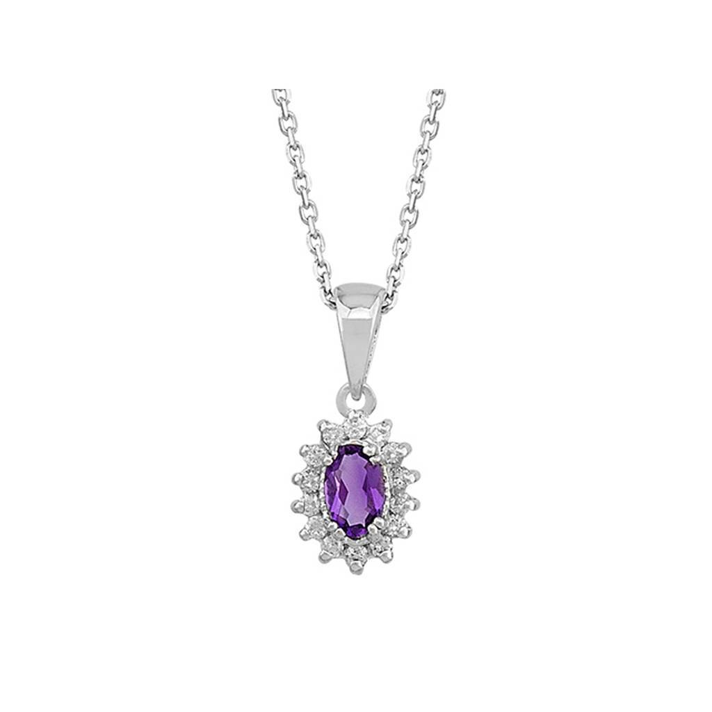 Diamond and Oval Amethyst Necklace