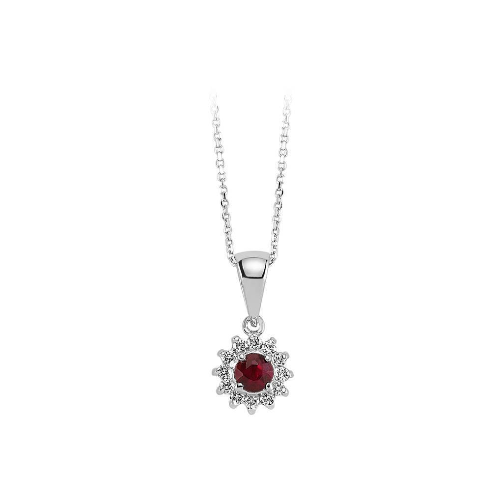 Ruby and Diamond Stone Necklace
