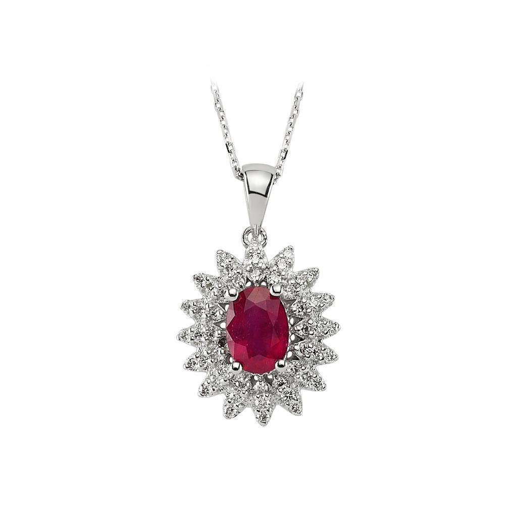 Oval Ruby Stone Diamond Necklace