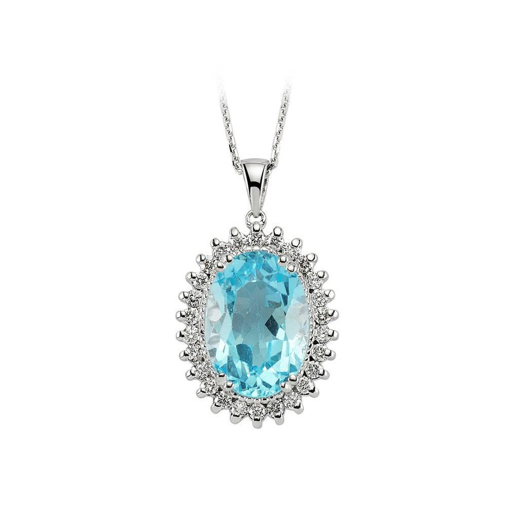 Oval Blue Topaz and Diamond Cluster Pendant with Chain in 18K Gold