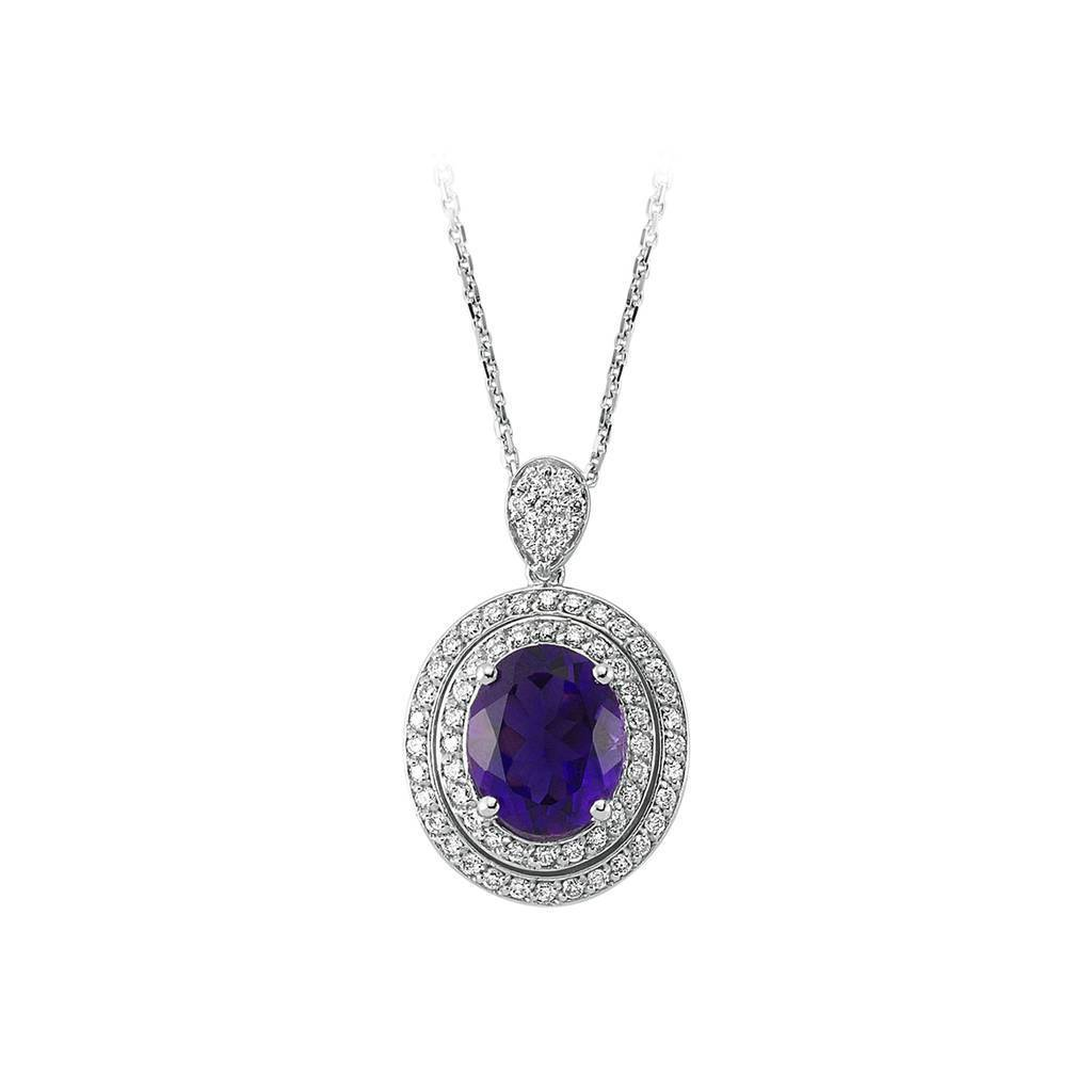 Oval Amethyst and Diamond Double Cluster Pendant with Chain in 18K Gold