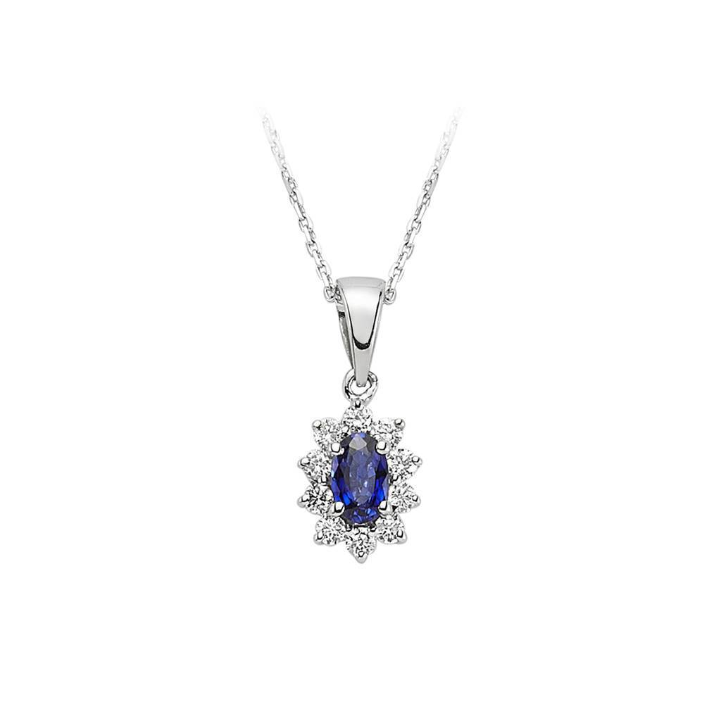 Diamond and Oval Sapphire Necklace