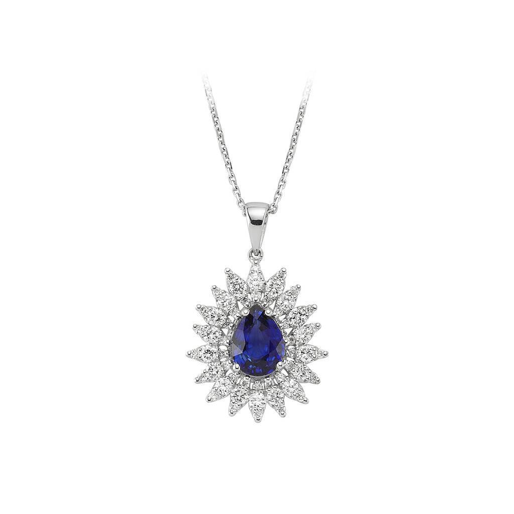 Diamond and Sapphire Stone Necklace