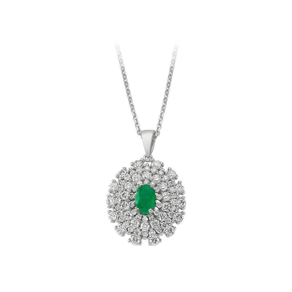 Four Lined Diamond and Oval Emerald Necklace