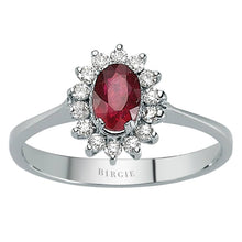 Load image into Gallery viewer, Diamond and Oval Ruby Stone Ring