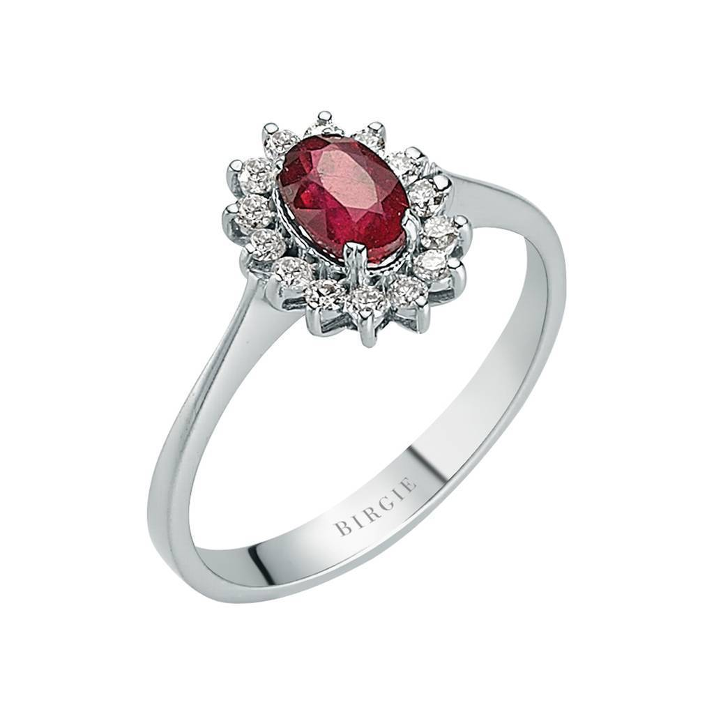 Diamond and Oval Ruby Stone Ring