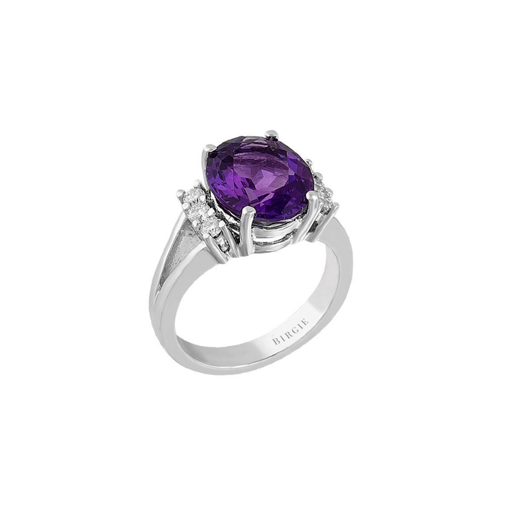 Large Amethyst and Diamond Stone Ring