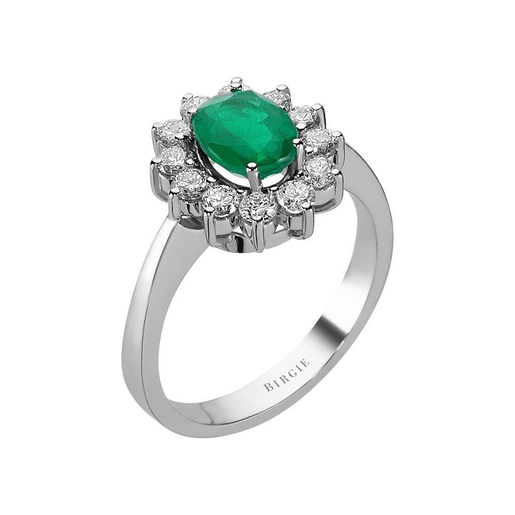 Oval Emerald and Diamond Side Stones Entourage Ring