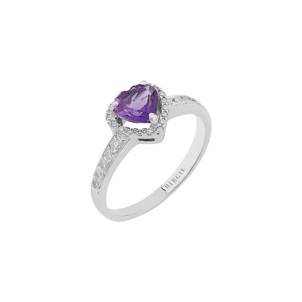 Diamond and Heart Cut Amethyst Stone Ring