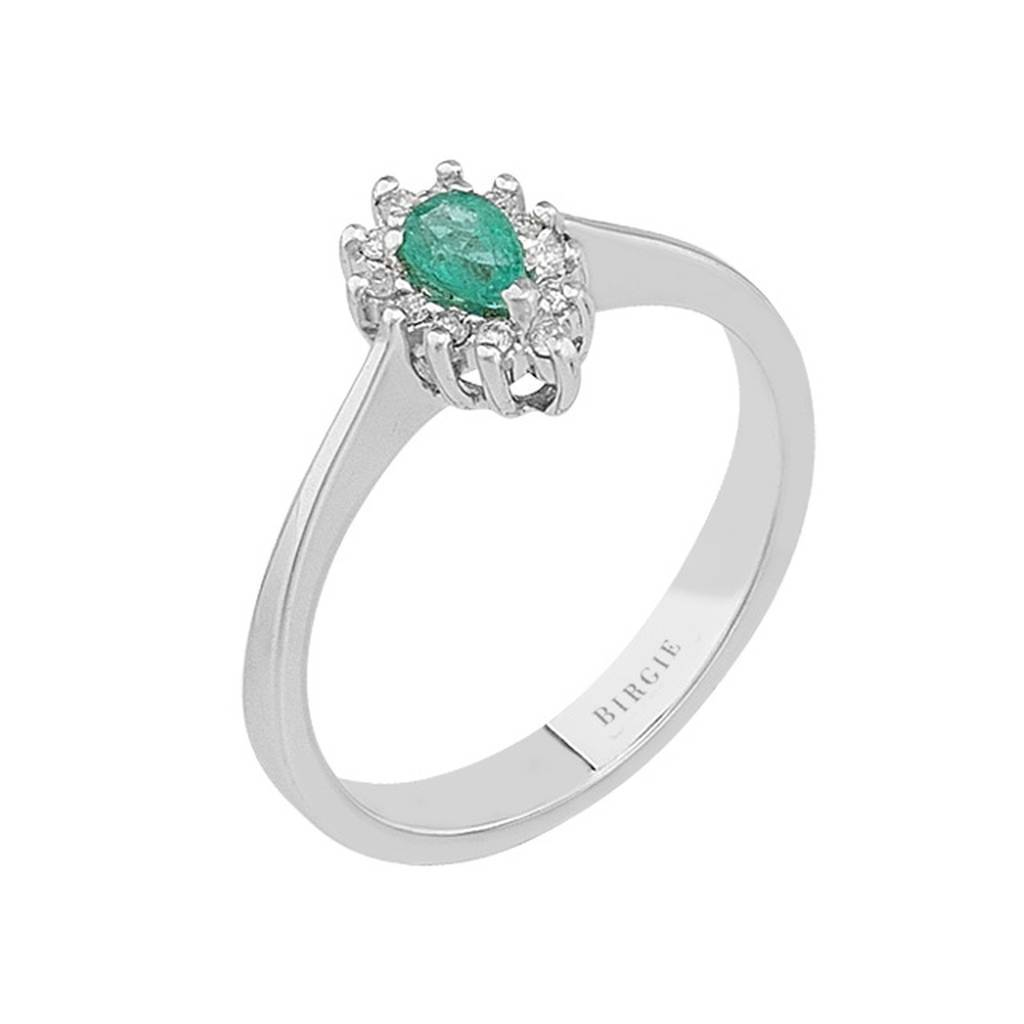 Diamond and Drop Emerald Stone Ring