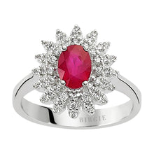 Load image into Gallery viewer, Ruby Stone Diamond Ring