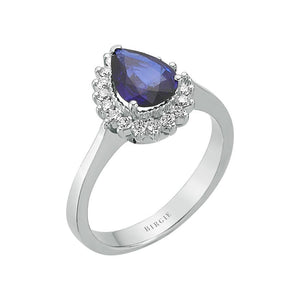 Diamond and Drop Sapphire Stone Ring