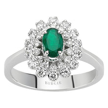 Load image into Gallery viewer, Diamond and Oval Emerald Stone Ring