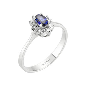 Oval Blue Sapphire and Diamond Side Stones Entourage Ring