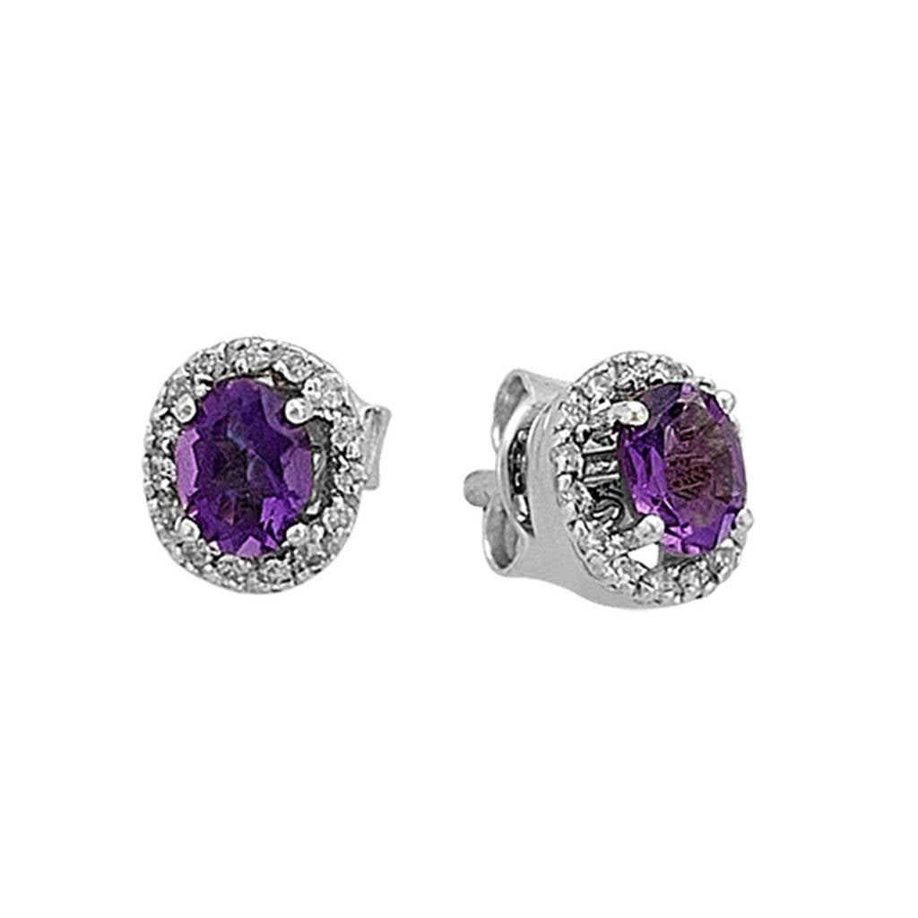 Diamond and Oval Amethyst Stone Earring